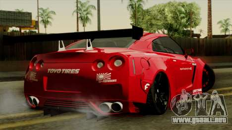 Nissan GT-R Liberty Walk Performance para GTA San Andreas left