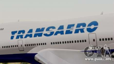 Boeing 747 TransAero para GTA San Andreas vista hacia atrás