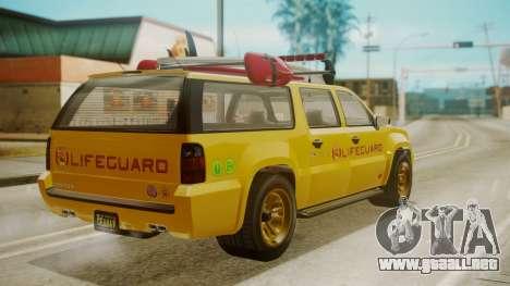 GTA 5 Declasse Granger Lifeguard para GTA San Andreas left