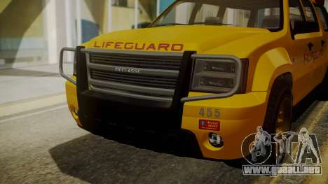 GTA 5 Declasse Granger Lifeguard IVF para GTA San Andreas vista hacia atrás