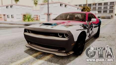 Dodge Challenger SRT Hellcat 2015 HQLM PJ para visión interna GTA San Andreas