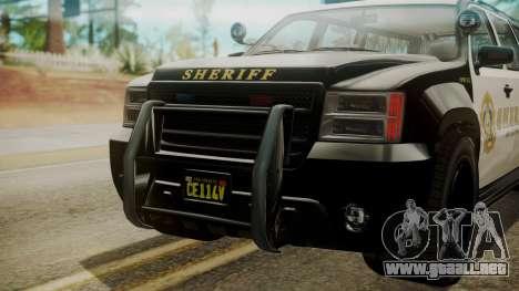 GTA 5 Declasse Granger Sheriff SUV IVF para GTA San Andreas vista hacia atrás