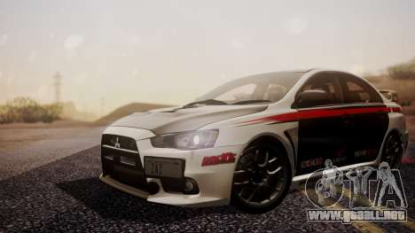 Mitsubishi Lancer Evolution X 2015 Final Edition para GTA San Andreas vista hacia atrás