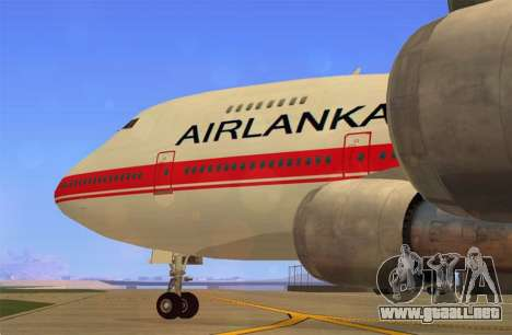 Boeing 747-200 Air Lanka para GTA San Andreas vista posterior izquierda