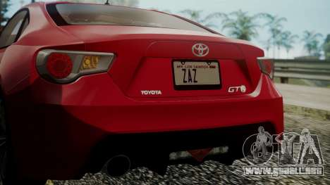 Toyota GT86 2012 LQ para vista inferior GTA San Andreas