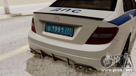 Mercedes-Benz C63 AMG STSI el Ministerio de Asun para GTA San Andreas vista hacia atrás