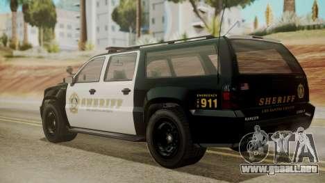 GTA 5 Declasse Granger Sheriff SUV IVF para GTA San Andreas left
