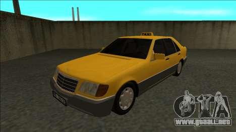 Mercedes-Benz W140 500SE Taxi 1992 para GTA San Andreas vista posterior izquierda