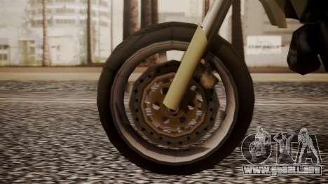 Sanchez SuperMoto para GTA San Andreas vista posterior izquierda