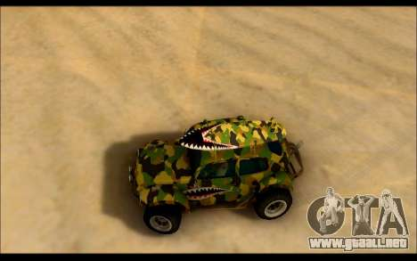 Volkswagen Baja Buggy Camo Shark Mouth para la visión correcta GTA San Andreas