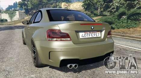 GTA 5 BMW 1M v1.2 vista lateral izquierda trasera