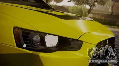 Mitsubishi Lancer Evolution X 2015 Final Edition para vista inferior GTA San Andreas