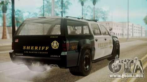 GTA 5 Declasse Granger Sheriff SUV para GTA San Andreas left