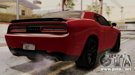 Dodge Challenger SRT Hellcat 2015 HQLM para GTA San Andreas left