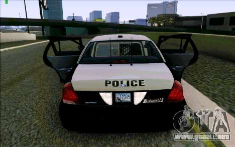 Weathersfield Police Crown Victoria para vista inferior GTA San Andreas