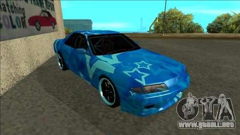 Nissan Skyline R32 Drift Blue Star para GTA San Andreas left