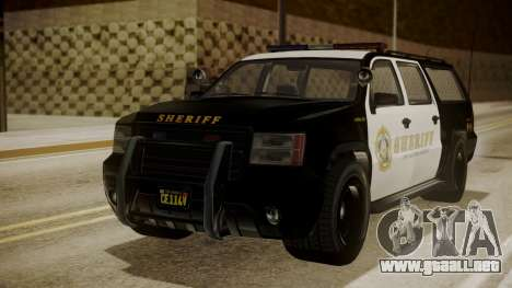 GTA 5 Declasse Granger Sheriff SUV para GTA San Andreas vista posterior izquierda