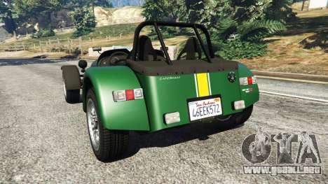 GTA 5 Caterham Super Seven 620R v1.5 [green] vista lateral izquierda trasera