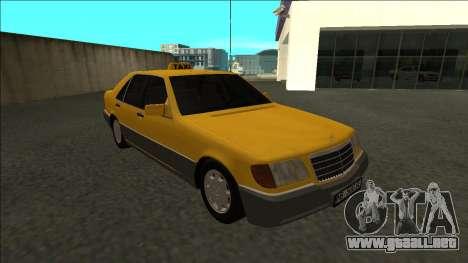 Mercedes-Benz W140 500SE Taxi 1992 para GTA San Andreas vista hacia atrás