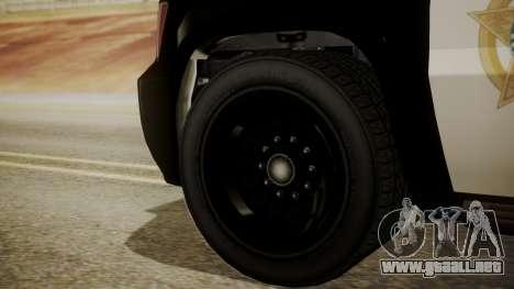 GTA 5 Declasse Granger Sheriff SUV IVF para GTA San Andreas vista posterior izquierda