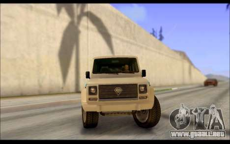 Benefactor Dubsta Jurassic World Paintjob para GTA San Andreas vista posterior izquierda