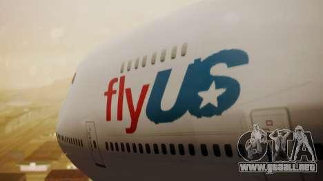 Boeing 747-200 Fly US para GTA San Andreas vista hacia atrás