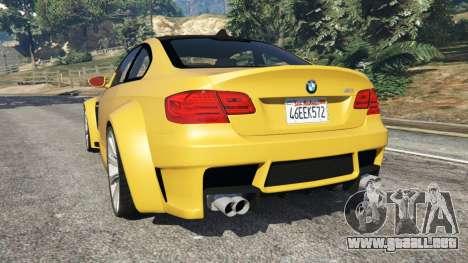 GTA 5 BMW M3 (E92) WideBody v1.1 vista lateral izquierda trasera