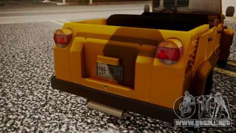 Volkswagen Safari Type 181 para GTA San Andreas vista hacia atrás