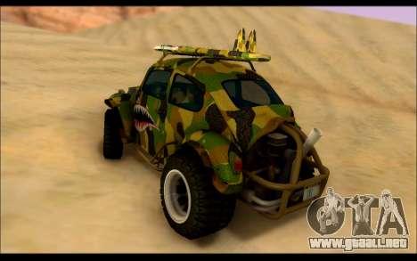 Volkswagen Baja Buggy Camo Shark Mouth para GTA San Andreas vista posterior izquierda