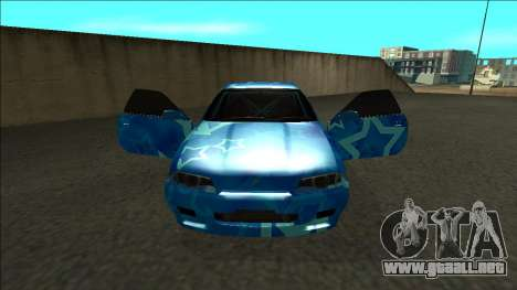 Nissan Skyline R32 Drift Blue Star para visión interna GTA San Andreas