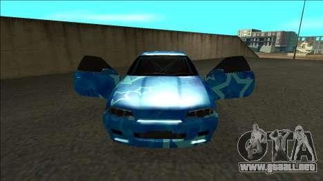 Nissan Skyline R32 Drift Blue Star para visión interna GTA San Andreas