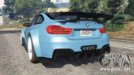 GTA 5 BMW M4 (F82) WideBody vista lateral izquierda trasera