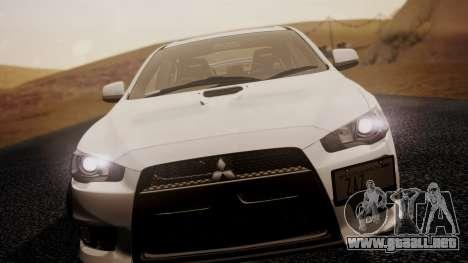 Mitsubishi Lancer Evolution X 2015 Final Edition para GTA San Andreas vista posterior izquierda