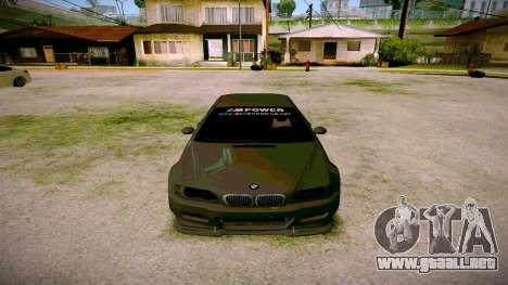 BMW E46 M3 Sport para GTA San Andreas vista hacia atrás