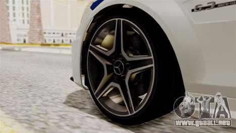 Mercedes-Benz C63 AMG STSI el Ministerio de Asun para GTA San Andreas vista posterior izquierda
