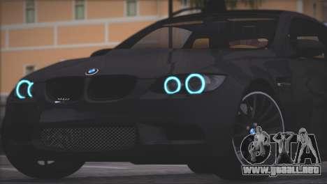BMW M3 E92 2008 para GTA San Andreas vista hacia atrás