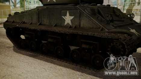 M4A3(76)W HVSS Sherman para GTA San Andreas vista posterior izquierda