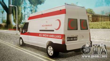 Ford Transit Jumbo Ambulance para GTA San Andreas left