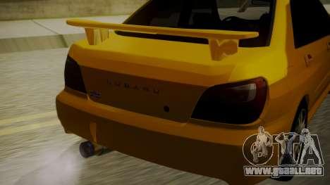 Subaru Impreza WRX GDA para GTA San Andreas vista hacia atrás