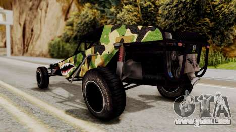 Buggy Camo Shark Mouth para GTA San Andreas vista posterior izquierda