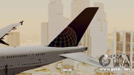 Airbus A380-800 United Airlines para GTA San Andreas vista posterior izquierda