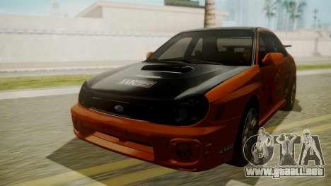 Subaru Impreza WRX GDA para vista lateral GTA San Andreas