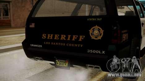 GTA 5 Declasse Granger Sheriff SUV IVF para visión interna GTA San Andreas