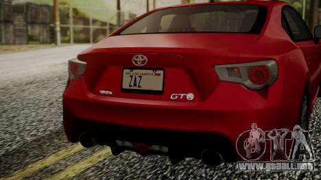 Toyota GT86 2012 LQ para GTA San Andreas vista hacia atrás