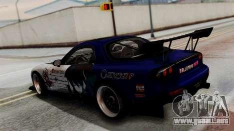 Mazda RX-7 Black Rock Shooter Itasha para GTA San Andreas vista hacia atrás