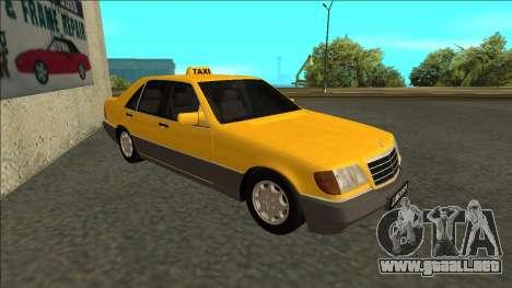 Mercedes-Benz W140 500SE Taxi 1992 para GTA San Andreas left