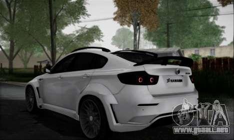 BMW X6M HAMANN Final para GTA San Andreas vista hacia atrás