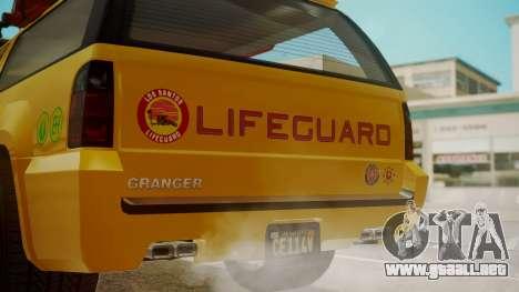 GTA 5 Declasse Granger Lifeguard para GTA San Andreas vista hacia atrás