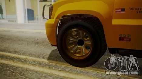 GTA 5 Declasse Granger Lifeguard IVF para GTA San Andreas vista posterior izquierda