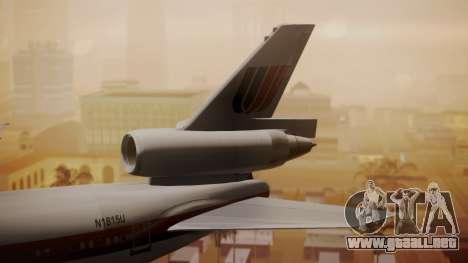 DC-10-10 United Airlines (80s Livery) para GTA San Andreas vista posterior izquierda